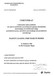 Certyfikat Leasing Jobs Pośrednictwo pracy