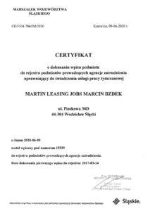 Certyfikat Leasing Jobs Praca tymczasowa
